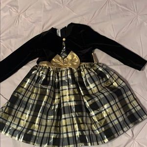 Toddler black and gold dress